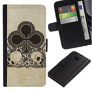 A-type (Clubes Ace Juego Tarjetas Poker Skull) Colorida Impresión Funda Cuero Monedero Caja Bolsa Cubierta Caja Piel Card Slots Para HTC One M8