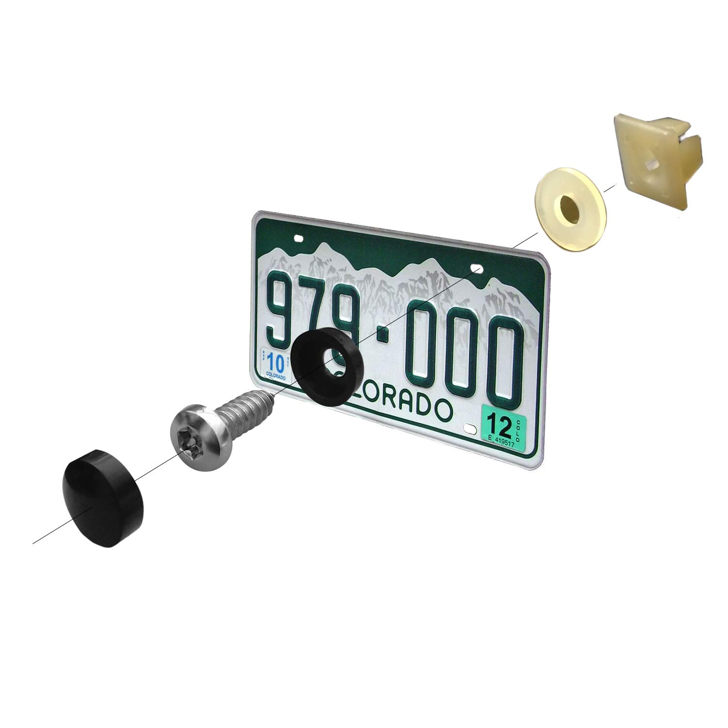 EIEVA Stainless License Plate Screws-M620 self-Tapping Anti-Theft Tamper Resistant License Plate Bolts Nuts Lock Fasteners and Black License Plates Screw Cover Cap for car
