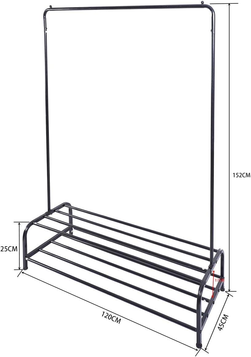 Perchero con Barra Superior y Estante Inferior de Almacenamiento DUMEE Perchero de Metal para Ropa a/ñade Espacio instant/áneo en el Armario Negro 120cm/×45cm/×152cm Negro f/ácil de Montar