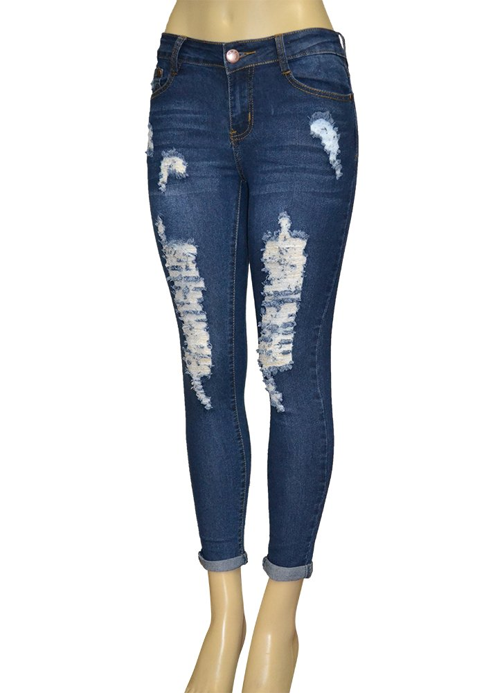 LnLClothing Junior's Low Rise Skinny Ripped Denim Pants, Denim137, 13/14