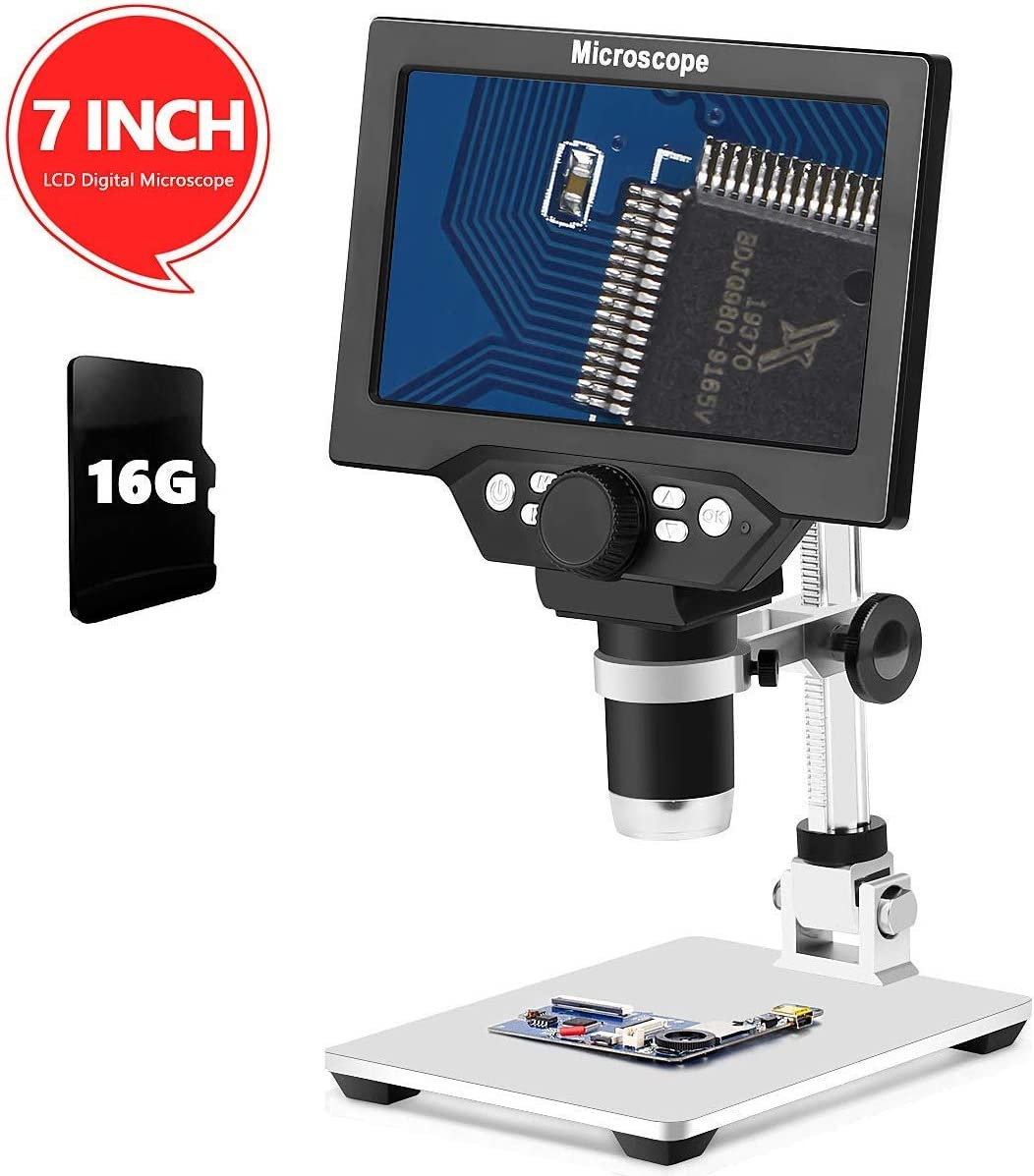 Deals on Yvelines LCD 7 Inch Digital Microscope w/12MP Camera Recorder