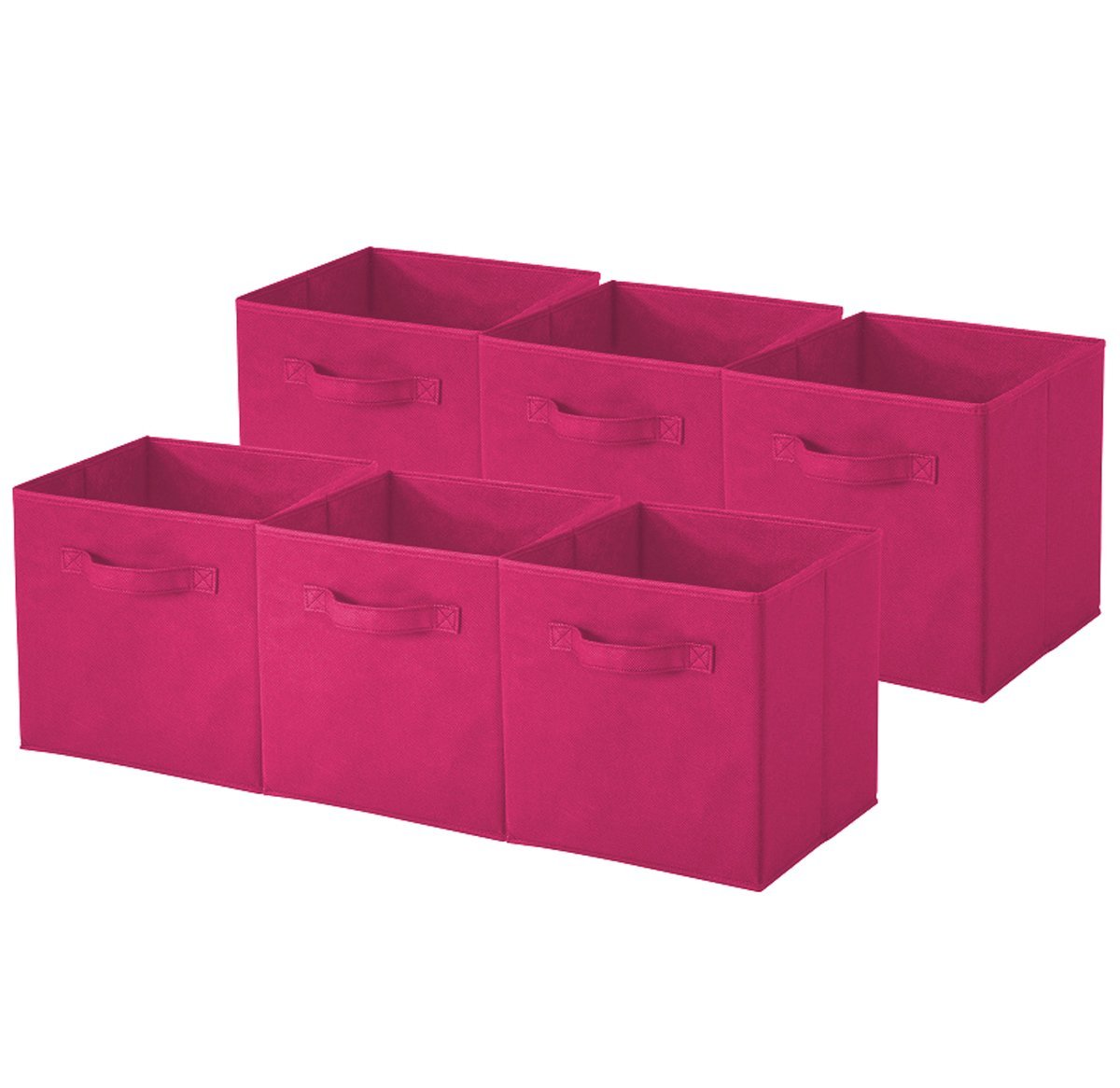 Sorbus Foldable Storage Cube Basket Bin Pink-6 PACK