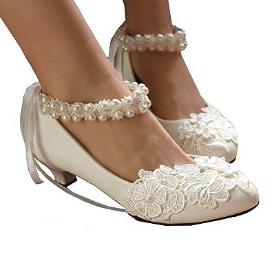 320965d3eae getmorebeauty Women s Pearls Across Top Small Heel Wedding Shoes 5 B(M) US