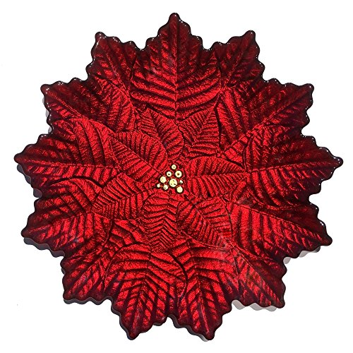Red Pomegranate 1844-4 Poinsettia Serving/Dinner Plate, Red Gold (Christmas Dishes Serving)