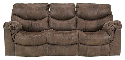 Ashley Furniture Signature Design   Alzena Recliner Sofa   Manual Reclining    Gunsmoke Brown