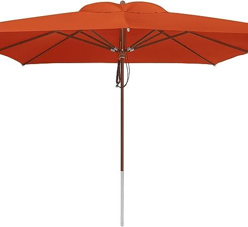 anndora Sonnenschirm 3 x 3m eckig Orange Manderine Gartenschirm Winddach Terasse