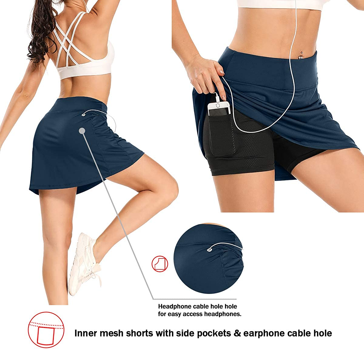 Jessie Kidden Women's Athletic Stretch Skort Tennis Skirts with Shorts and Pockets for Running Tennis Golf Workout Sports: Clothing