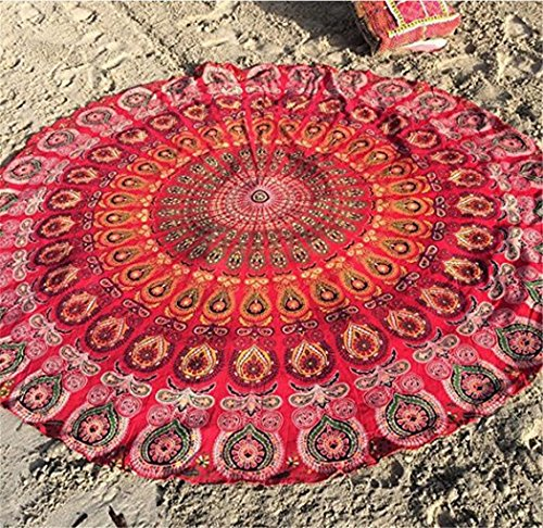 Beach Shawl Mandala Beach Tapestry Throw Popular Indian Round Roundie Tablecloth  Hippy Boho Gypsy Picnic sheet (Red)