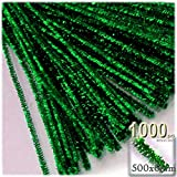 The Crafts Outlet Chenille Sparkly Stems, Pipe Cleaner, 20-in (50-cm), 1000-pc, Emerald Green