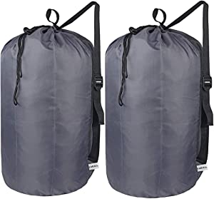 UniLiGis 2 Pack Washable Laundry Bag with Strap, Laundry Backpack with Drawstring, Combined Use of Laundry Basket or Clothes Hamper, Can Hold 3 Loads of Laundry for Travel Dorm College, Grey