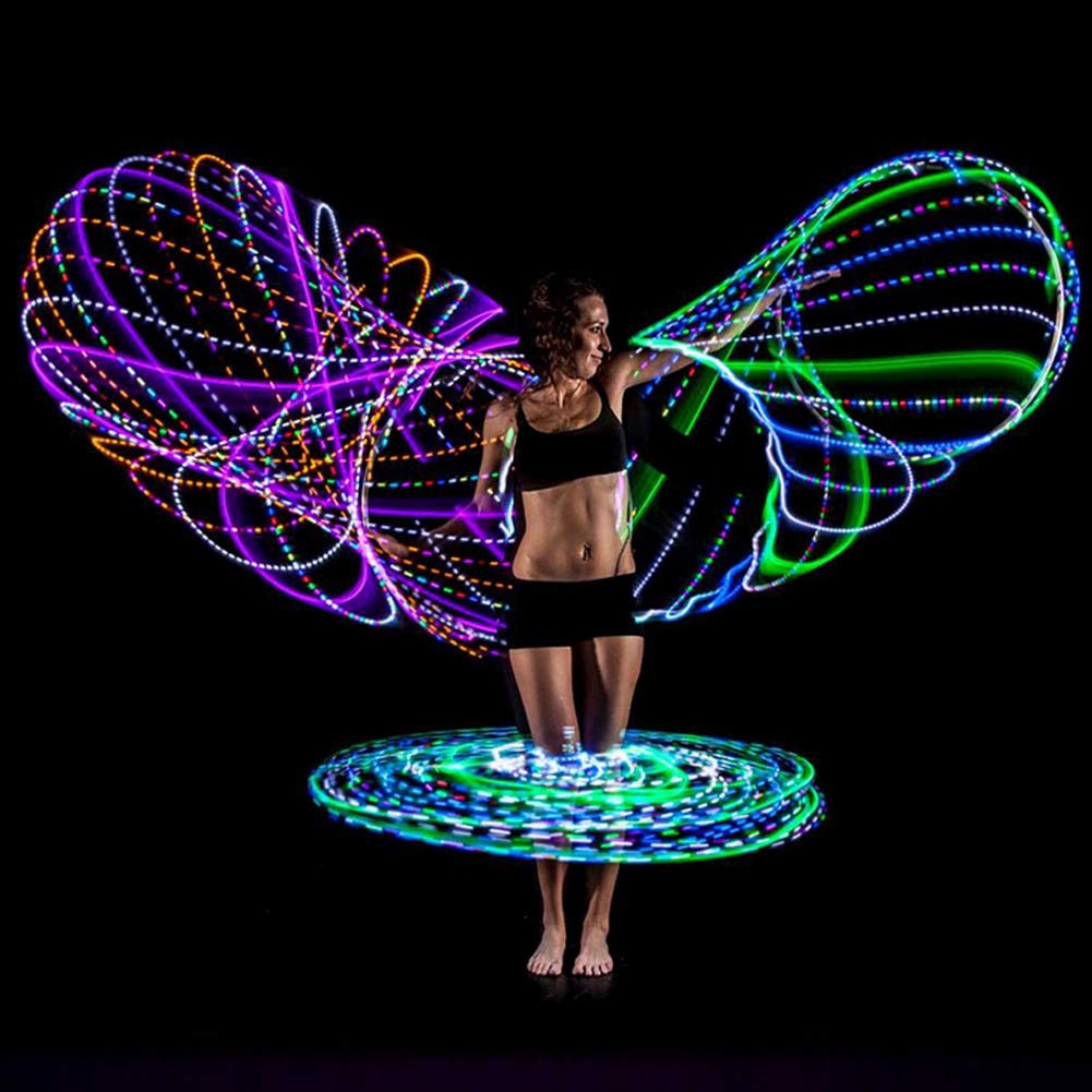18 LED Hula Hoop 7 Couleur stroboscopique Changing LED Hula Hoops Weighted Dance Fitness Glow Light Up Hoola Hoops pour Adultes et Enfants 1pc