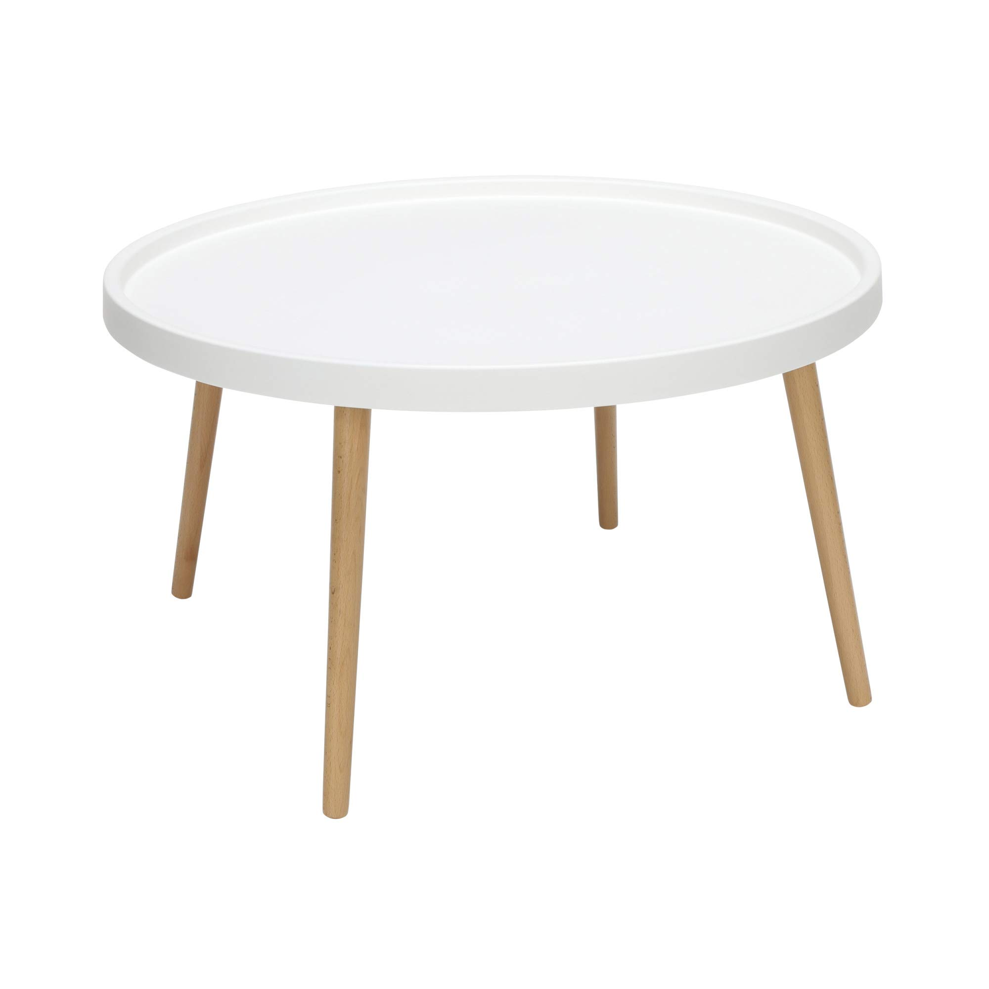 OFM 161 Collection Mid Century Modern Plastic Coffee Table, Solid Wood Legs, in White by OFM