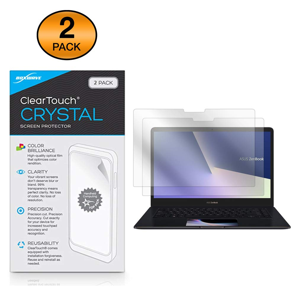 BoxWave ASUS ZenBook Pro 15 (UX580) Screen Protector, [ClearTouch Crystal (2-Pack)] HD Film Skin - Shields from Scratches for ASUS ZenBook Pro 15 (UX580)