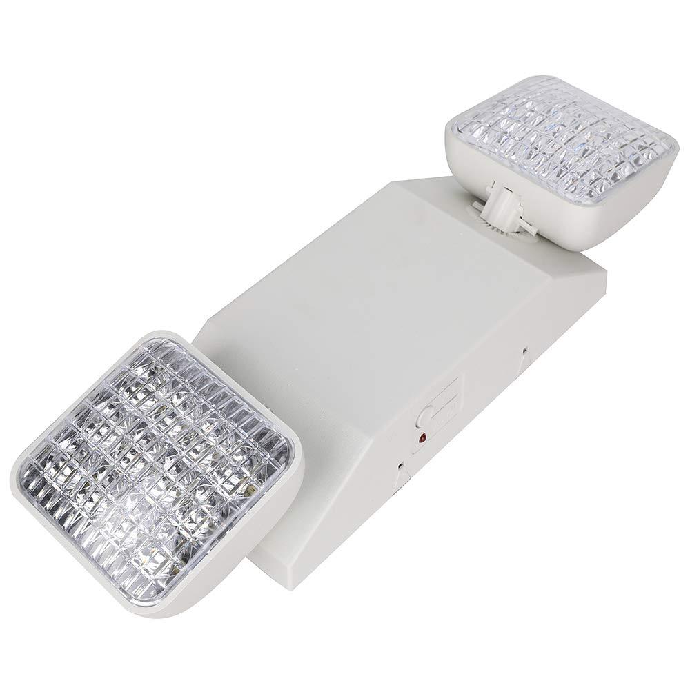 LED Emergency Light, Two Head LED Standard Light Hardwired Adjustable Lamp UL Certified