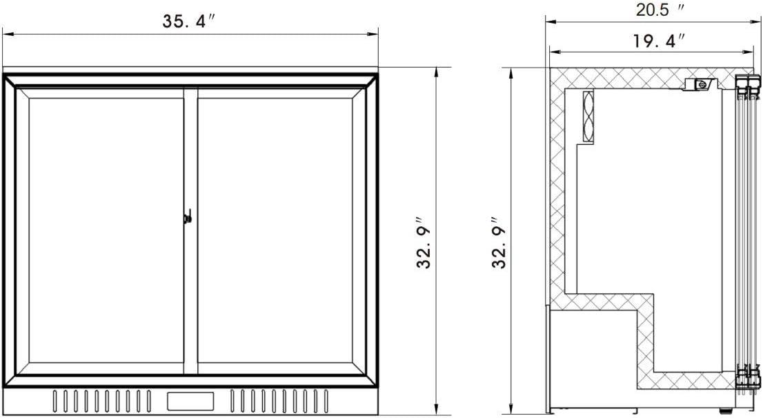 KingsBottle KBU208SC refrigerador de barra trasera de 36 pulgadas de grado comercial con doble puerta de vidrio deslizante: Amazon.es: Grandes electrodomésticos