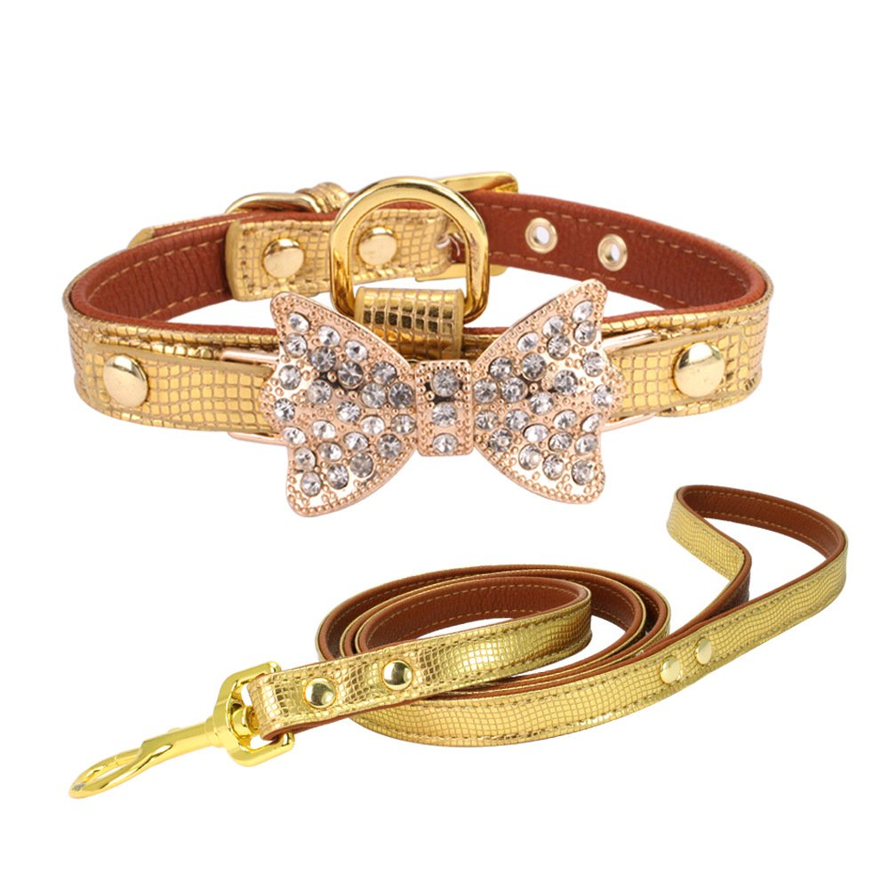 Benala Bling Pu Leather Dog Pet Cat Collar Necklace and Leash Set with Crystal Butterfly Charm and D-Ring XS