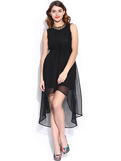 fe0e67540d3 IandE Western Women's Black Solid Sleeveless Georgette Unique Asymmetric  High-Low Dress: Amazon.in: Clothing & Accessories