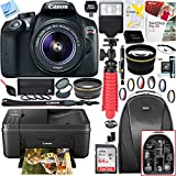 Canon T6 EOS Rebel Digital SLR Camera with EF-S 18-55mm IS II Lens Kit (1159C003) with 64GB SDXC Dual Battery & Shotgun Mic Pro Mobile Video Bundle (18-55mm Lens and Pixma Printer Kit)