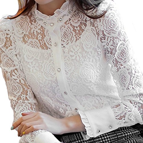 Beaded Lace Camisole (Lafon White Lace Crochet See Through Floral Beaded Buttoned Shirt FFK063XL)