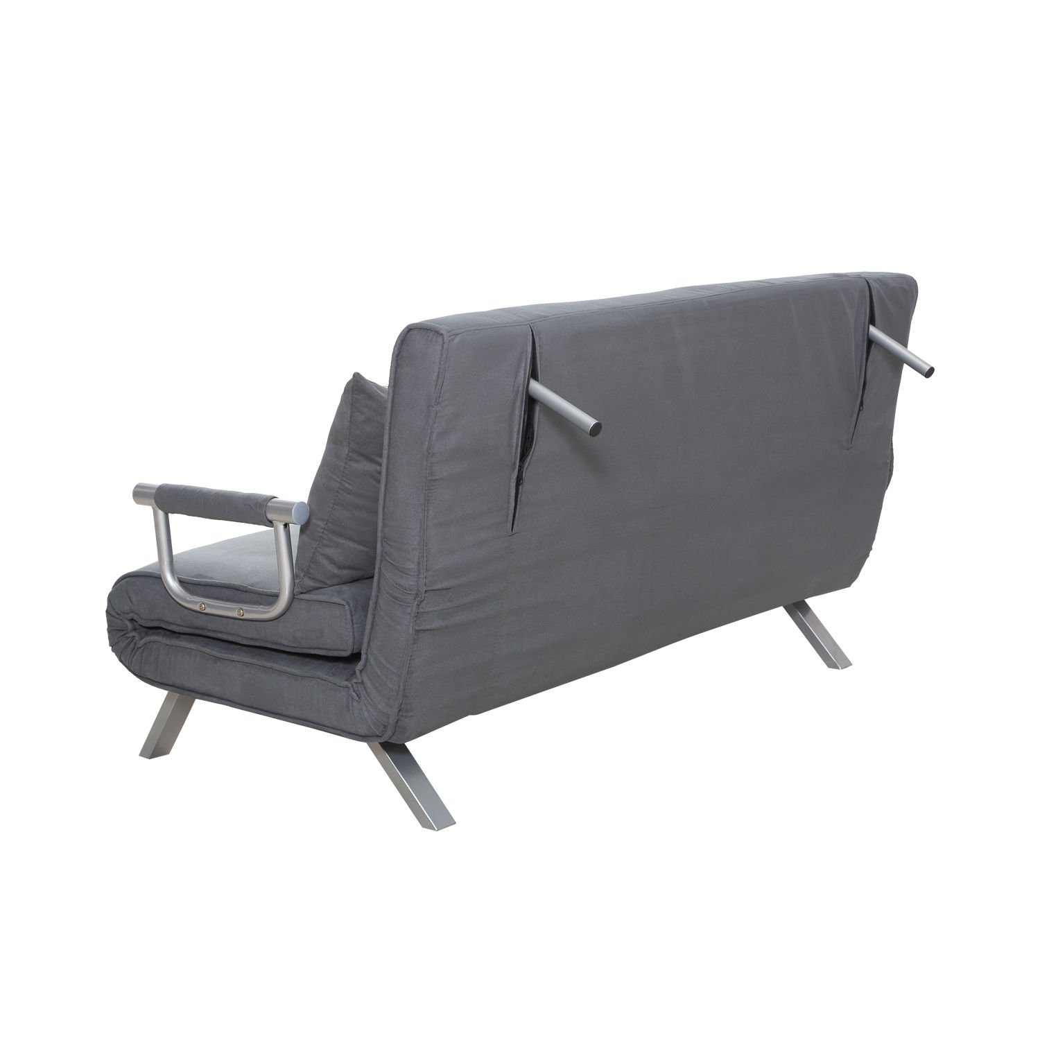 "Amazon Hom 58"" Suede Convertible Sleeper Sofa Gray"