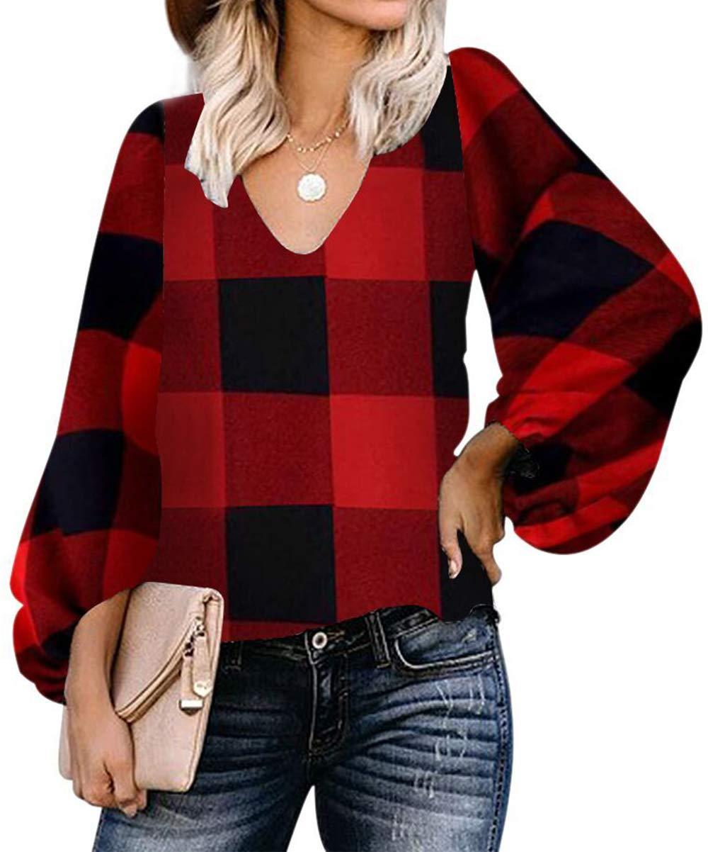 BABEIYXM Women's Red Plaid Shirts Balloon Sleeve Loose Chiffon Blouses V Neck Knitwear Casual Tops M