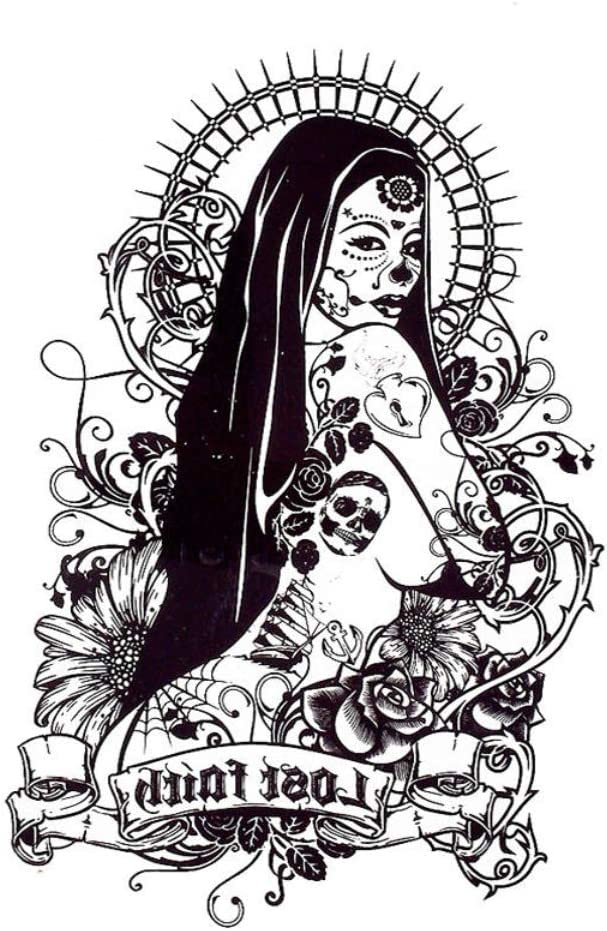 JUSTFOX La Catrina Day of the Dead - Tatuaje temporal, diseño de ...
