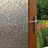 Fancy-Fix Vinyl Static Cling Cut Glass Decorative Mini Mosaic Privacy Window Film Roll Package 17.7 Inches By 59 Inches (45x150cm)