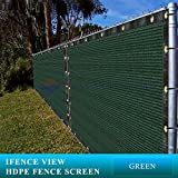 Ifenceview 3'x3' to 3'x50' Green Shade Cloth/Fence Privacy Screen Fabric Mesh Net for Construction Site, Yard, Driveway, Garden, Canopy, Awning 160 GSM UV Protection (3'x5')