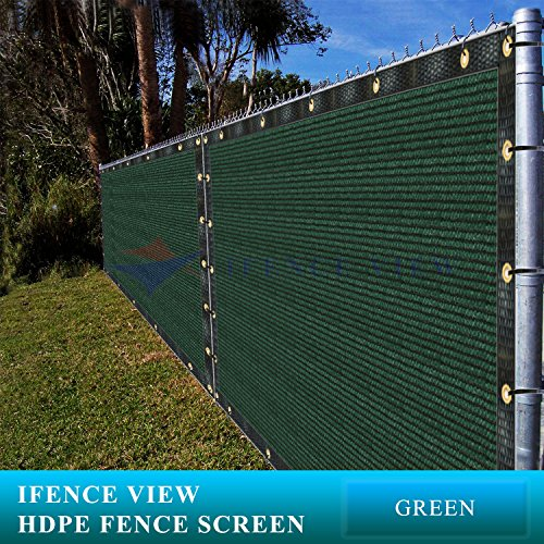 Ifenceview 4'x5' to 4'x50' Green Shade Cloth/Fence Privacy Screen Fabric Mesh Net for Construction Site, Yard, Driveway, Garden, Railing, Canopy, Awning 160 GSM UV Protection (4'x10') by Ifence View
