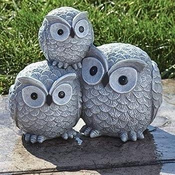 "Benzara ALP-QWR476SLR 16/"" Solar Owl Family Welcome Statue Animal Statue"