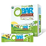 Orgain Organic Kids Energy Bar, Chocolate Chip - Great for Snacks, Vegan, 7g Dietary Fiber, Dairy Free, Gluten Free, Lactose Free, Soy Free, Kosher, Non-GMO, 1.27 Ounce, 10 Count (Packaging May Vary)