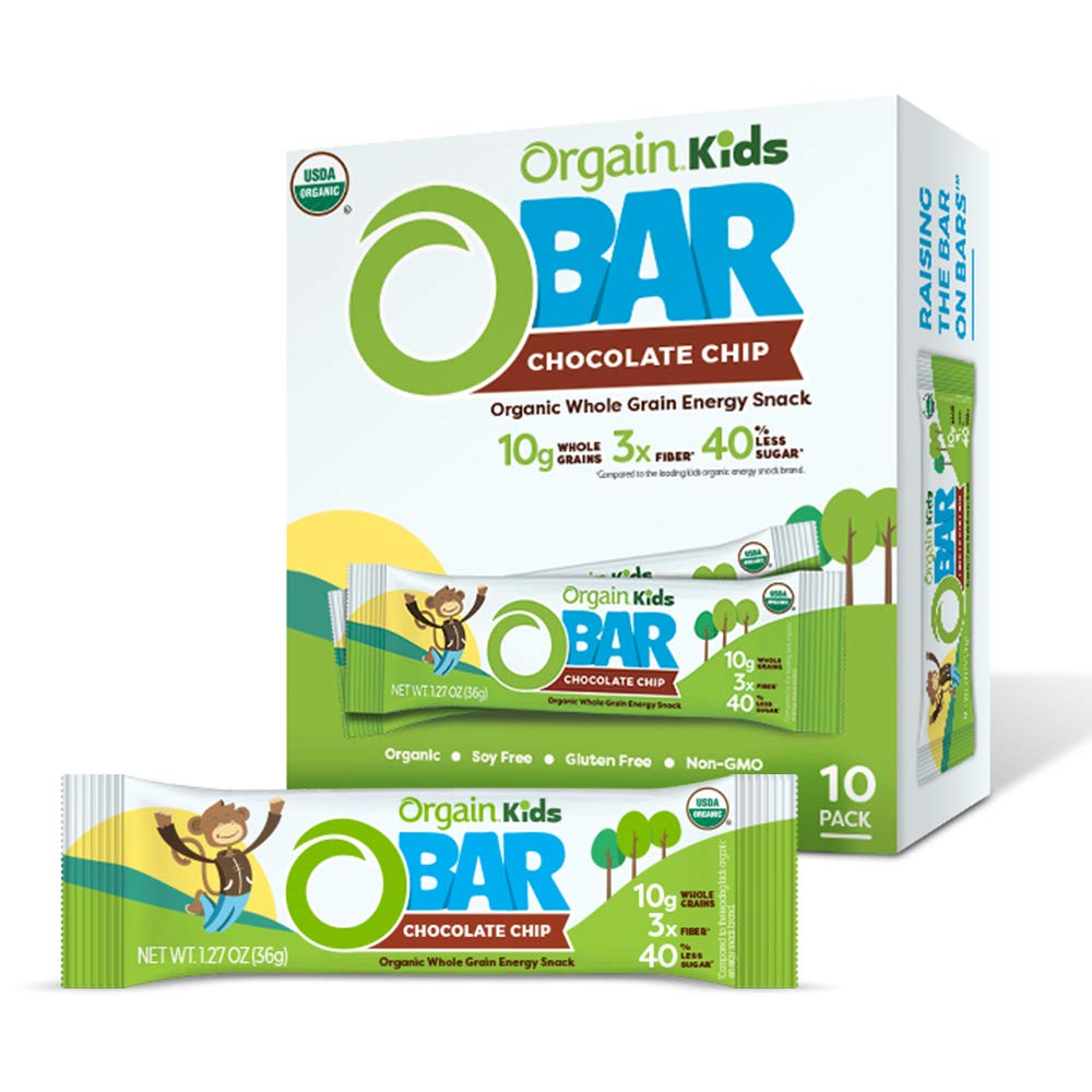 Orgain Organic Kids Energy Bar, Chocolate Chip - Great for Snacks, Vegan, 7g Dietary Fiber, Dairy Free, Gluten Free, Lactose Free, Soy Free, Kosher, Non-GMO