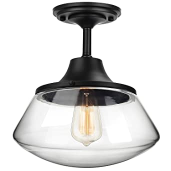new product 2c2fc 133d8 Petronius Industrial Semi Flush Mount Ceiling Light, Farmhouse Lighting  Clear Glass Pendant Lighting Shade, Edison Vintage Style Hanging Lights ...