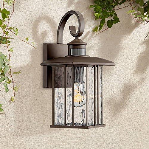 Deaver Modern Outdoor Wall Fixture Bronze 15 1 4 Clear Water Glass Lantern Dusk to Dawn Motion Security Sensor for Exterior Porch – John Timberland