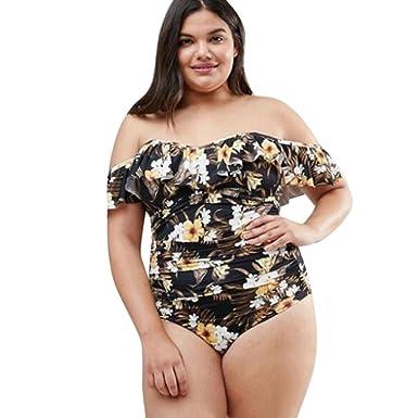 45b018c916994 Wolfleague Monokini Femme String Grande Taille, Maillots de Bain Femme  Bikini Push-Up rembourré