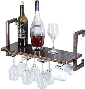 "zyfun Industrial Wine Racks Wall Mounted with Stemware Racks with 4 Stem Glass Holder, 23.62"" Rustic Metal Hanging Wine Holder. Wall Mounted Wine Rack, Retro Metal&Wood Shelves Home Decor Wall Shelf"
