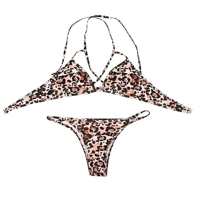 b43381d48b62 SCHOLIEBEN BañAdor para Mujer Ropa De Playa Leopardo Bikini De 2 ...