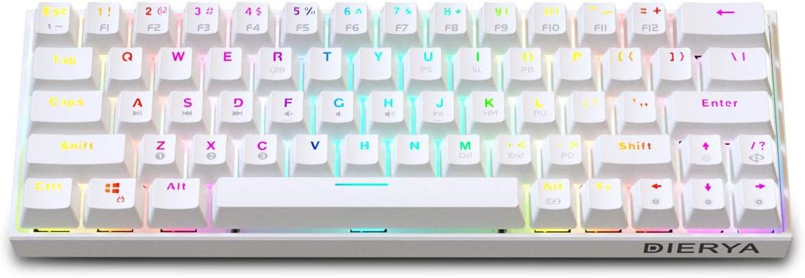 Teclado mecánico para Juegos 60% True RGB Retroiluminado Bluetooth 4.0 Teclado de computadora con Cable/inalámbrico LED para computadora portátil de ...