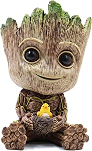 """ZUSONUD Groot Planter Pot Garden Decor Accessories Tree Man Pencil Holder or Flower Pot with Drainage Hole Perfect for Tiny Succulents Plants 6"""""""