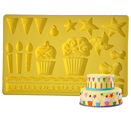 e2e08f7313 Image Unavailable. Image not available for. Color  FOUR-C Fondant Molds  Birthday Silicone Mould Decor Cake ...