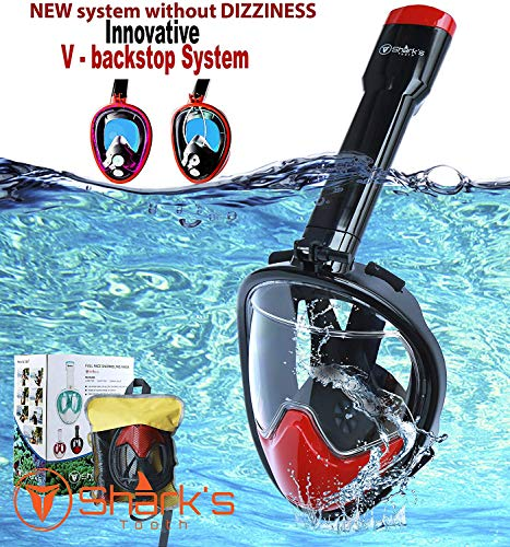 Shark's Tooth Snorkel Mask Full Face- Easy Breath- 180⁰ Panoramic Seaview- Swimming Mask- Innovative V Backstop Technology- Scuba Mask- Anti-Leak&Anti-Fog