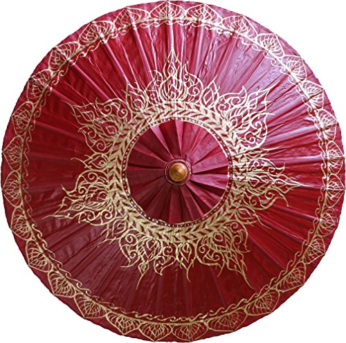 Umbrellas Painted Hand (Oriental-Decor Oxblood Traditional Thai Hand Painted Umbrella)