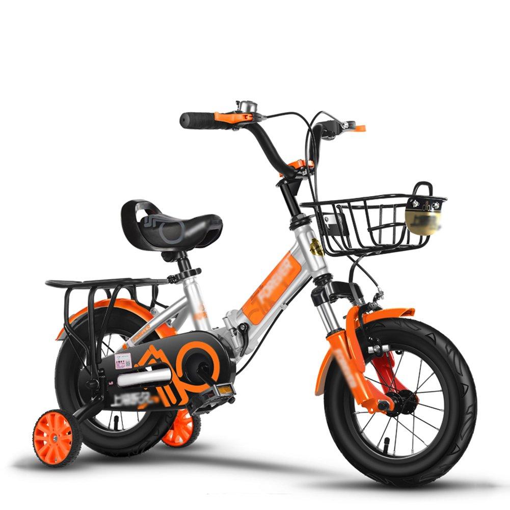 Kids 'バランスバイク折りたたみガールズベビー衝撃吸収子供の自転車ペダル自転車シルバー少年ベビーカー3 – 10 Years Old B07DYFLLDN 16 inch