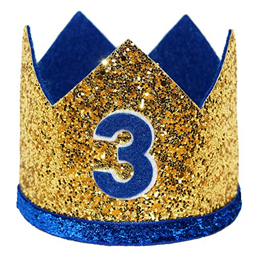 Maticr Shiny 2nd Birthday Crown Baby Boy Prince Headband Party Supplies (Large Gold Royal 3)