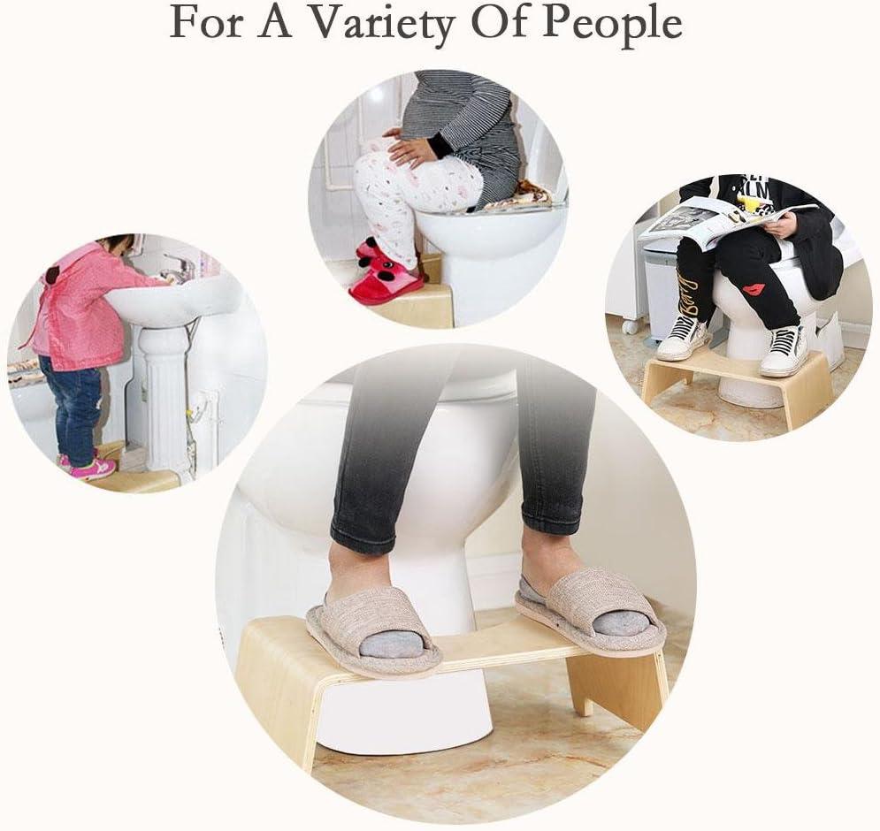 Sedile da bagno antiscivolo Sedile da toilette di alta qualit/à Poggiapiedi Sgabello da toilette multifunzionale per la casa Sgabello da bagno accovacciabile in legno per bambini Bagno Sgabello