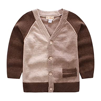 500351e78 AIKSSOO Baby Boy Knitted Cardigan Toddler V Neck Long Sleeve ...