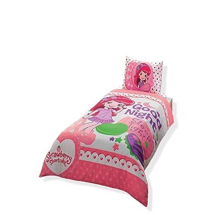 . Strawberry Shortcake Good Night  Bedding Duvet Cover Set  Single   Twin