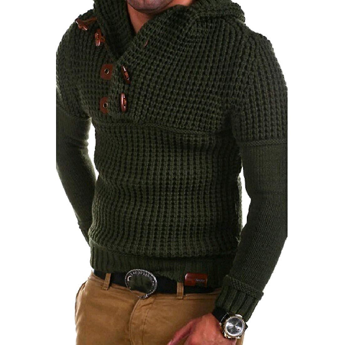 YUNY Mens Turn Down Collar Double-Breasted Hood Pullover Sweater Blackish Green 2XL