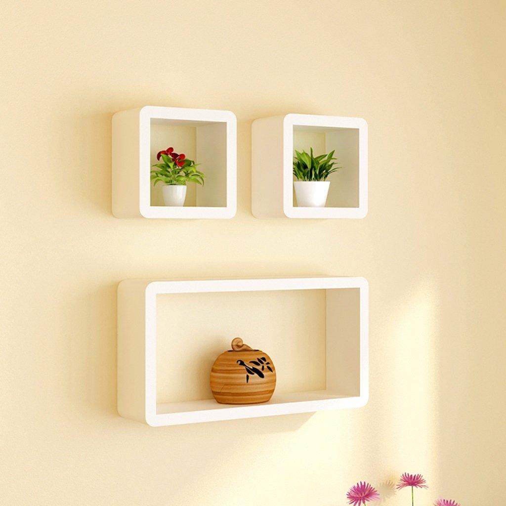 AI XIN SHOP Wandregale, die an der Wand befestigtes Gitter-Wohnzimmer-Fernsehhintergrund-Kabinett Schwimmen (Farbe : Weiß 1)