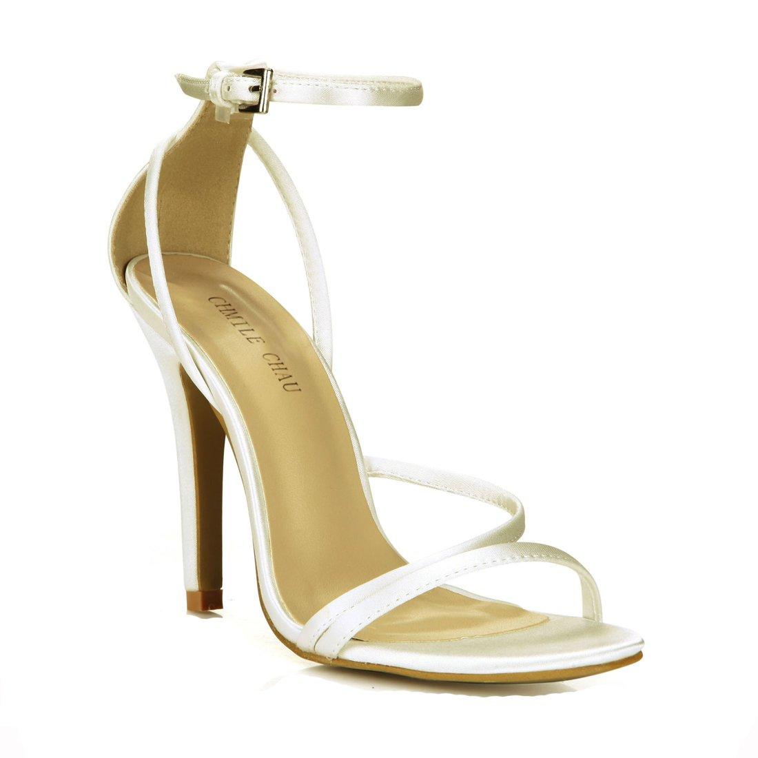 CHMILE Satin-ivoire Aiguille-Bout CHAU-Sandales Femmes-Mariage-Stiletto-Plusieurs Coloris-Bride de Cheville-Talon Rond Haut Aiguille-Bout Rond Satin-ivoire b2069d5 - piero.space